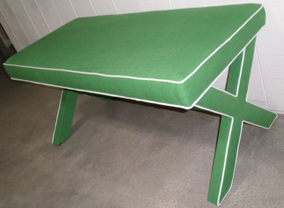 DOUBLE X-Bench w/Contrast Piping on Legs - Design Your Own With ANY Fabric