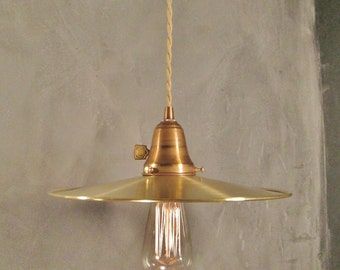 Vintage Industrial Hanging Light with Flat Brass Shade - Machine Age Minimalist Bare Bulb Pendant Lamp