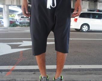Basic Black Drop Crotch Harem Shorts / Mens Shorts / White Adjustable Drawstring / Stash Pocket / Handmade by GAG THREADS