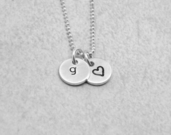 Initial Necklace with Heart, Letter g Necklace, Initial Jewelry, Charm Necklace, Personalized Jewelry,Sterling Silver Jewelry, All Letters