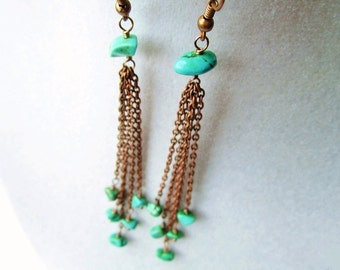 Boho Chic Green Magnesite Stone Cluster Long Dangly Copper Chain Earrings