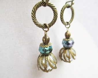 White Glass Pearl & Blue Crystal Victorian Style Bronze Dangle Earrings, Gift Box