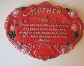 Red Chalkware Mother Tribute Wall Hanging
