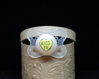 Kiss Me Conversation Valentine Heart Hand Painted on a Clear MAM Pacifier by PiquantDesigns