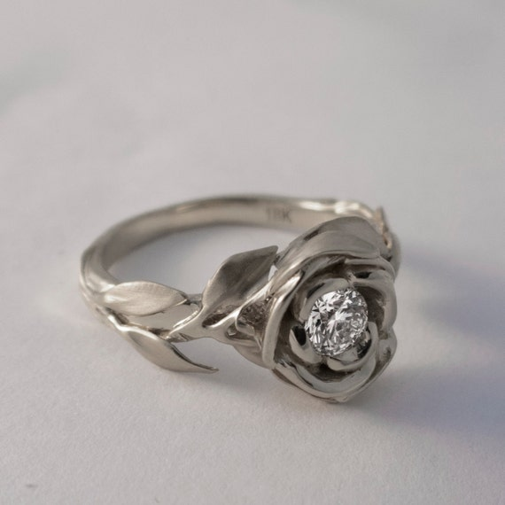 Rose Engagement Ring No 1 14k Gold White And By Doronmerav