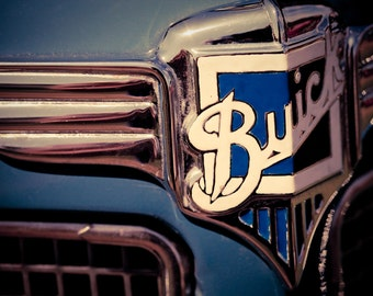 Blue and White Buick Chrome Emblem - Masculine Office Decor - Classic Car Art - Housewarming Gift - Home Decor - Fine Art Photography