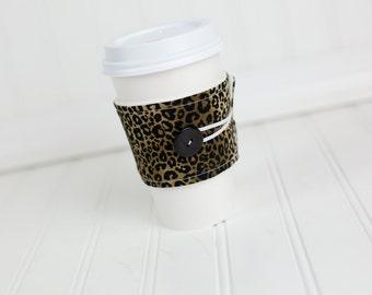 Leopard Coffee Sleeve, Animal Print, Reusable Fabric Coffee Cozy, Women's Coffee Cuff