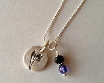 Fine Silver Wildflower with Blue Glass Charm Necklace