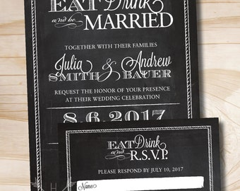 RUSTIC BLACKBOARD Eat Drink and Be Married Chalkboard Wedding Invitation Response Card Invitation Suite
