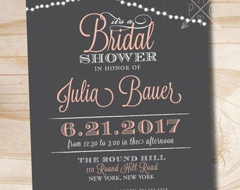 STRING OF LIGHTS Grey Pink Couples Shower Bridal Shower Baby Shower Invitation - Printable digital file or printed invitations