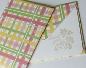 SALE - Thank You Card  - Set of 2 Stationery - Plaid Yellow, Green, Pink Stripes with Flowers - SALE