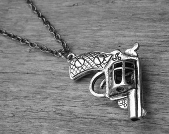 Silver Gun Necklace Silver Gun Jewelry Pistol Revolver Punk Rock and Roll Rocker Rock n Roll Heavy Metal Southern Country Girl Cowgirl