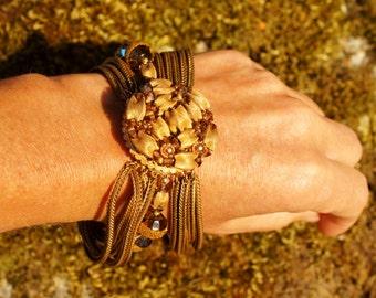 1960's Eugene Gold Bracelet & Earring Set