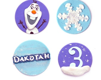 12 Fondant frozen inspired toppers for cupcakes or cookies