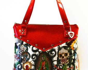 Day of the Dead Purse with Your Choice of Vinyl Trim, Retro, Tote, Rockabilly Bag - MADE TO ORDER