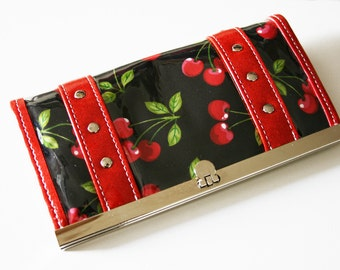Cherry Wallet Vinyl Trim Rockabilly Pin Up Retro Wallet - MADE TO ORDER