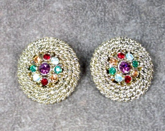 Vintage Judy Lee Signed Earrings, Clip On with Beautiful Honey Comb Style with Colored Rhienstones