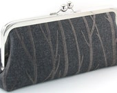 Charcoal Gray Clutch Evening Bag - Grey Purse - Embroidered Trees Handmade Women's Metal Frame Handbag