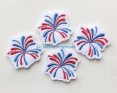 Embroidered Felt Applique- Fireworks Feltie Applique-Feltie Stitchie Applique- Fireworks Feltie- You Pick-UNCUT (Set of 4)
