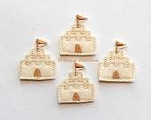 Sand Castle with Flag Felt Applique - Sand Castle Felt Applique - Sand Castle Embroidered Felt Stitches-UNCUT (Set of 4)