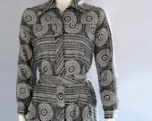 vintage 70s shirt dress Lanvin black white medallion print small