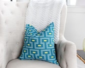 Geometric Decorative Pillow Cover - Teal- Yellow- 18x18""