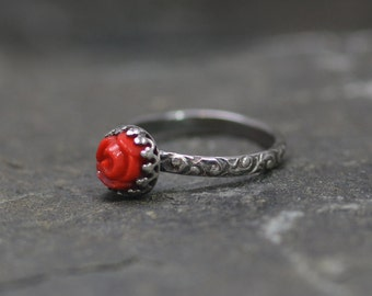 Sweetheart Red Rose Ring, Made to Order in your Size, Sterling Silver, Vintage Red Glass Cabochons, Edwardian Style, Goth Style