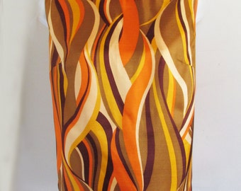 RARE 1950s-60s Cowl Neck Sleeveless blouse with abstract pattern, fully lined, b y Rhodes of California
