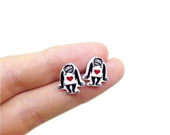 Banksy Happy Monkey Earrings - Banksy Art - Monkey Jewelry - Street Art Inspired Gifts