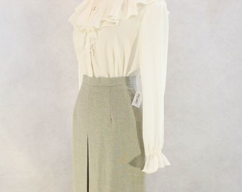 1970s Ruffled Ivory Blouse