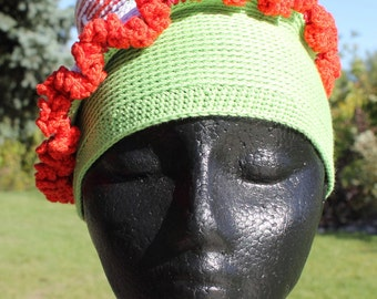 Red White & Lime Green Child Crochet Hat with a Little Bump on Top...
