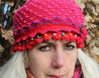 Textured Red & Pink Crochet Hat with a Green Clasp and Colorful Wooden Beads...