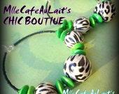 Black and White Leopard, Green Czech Crystal, Green Wood Beaded Hoop Earrings- SERENGETI