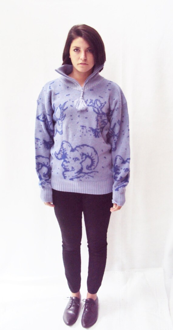 lilac purple sweater / animal print novelty sweater / Small Medium