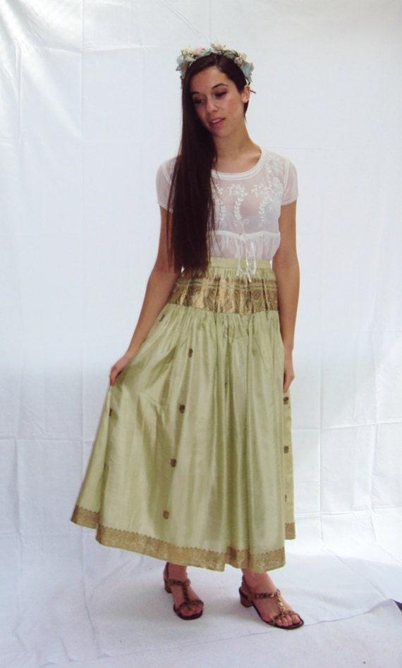 vintage 70s metallic Silk Maxi Skirt, INDIAN skirt, Celadon Green,  METALLIC embellished // s, m, small, medium