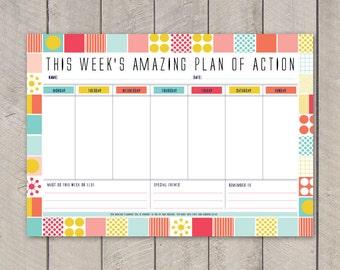 Printable Weekly Planner DIY Organiser Mid Century Pattern
