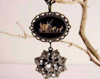 Unique Gothic Victorian Steampunk Necklace Antique Bronze Chain Made with Vintage Elements