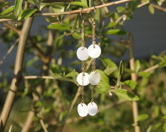 "Triple 14kt Gold Filled Chain with White Mother of Pearl Dangle Earrings--""Stroll on the Beach"""