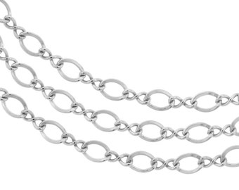 Sterling Silver 3.4mm Figure Eight chain  - 5ft Made in USA 10% discounted LOWEST PRICE wholesale quantity (5332-5)/1