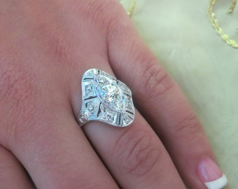 Antique platinum diamond ring.