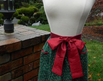 Christmas Half Apron - Candy Cane Print with Holly Trim