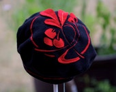 Womens fleece hat Black and Red Embroidered art deco