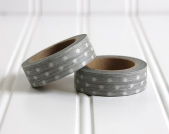 WASHI TAPE CLEARANCE - 1 Roll of Silver Gray Polka Dot Washi Tape / Decorative Masking Tape (.60 inches x 33 feet)