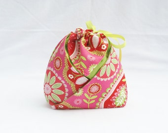 Origami Gift Bag - Pillow and Maxfield Gypsy Bandana in Pink for Michael Miller