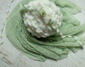 Vintage  green lace,newborn wrap, baby photography wrap and headband set