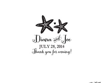 Beach Seaside Personalized Custom Rubber Stamp or SeIf Inking - Wedding Date Starfish