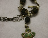 Celtic knot Claddagh rhinestones antique patina green beads 24 in necklace