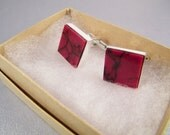 Red Black Cufflinks SHIPS IMMEDIATELY Handmade Red Wedding Cuff Links Composite Red Jasper Red Gifts for Groomsmen Birthday Gifts for Him