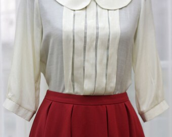White Peter Pan collar Pleat 3/4 Short Sleeve Blouse - Custom Sizing Available - ORT168