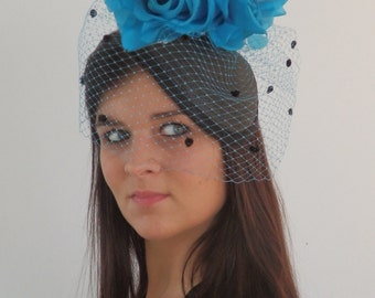 Dutch design black straw hat with royal blue flowers inculed but optional birdcage veil in ton sur ton on aliceband